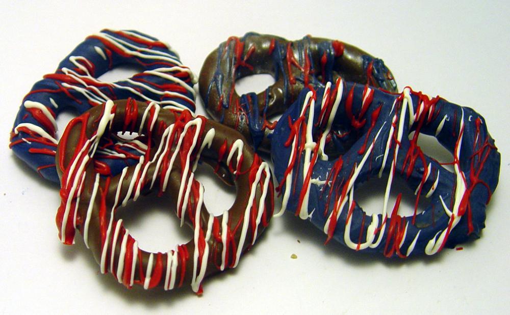One Dozen (12) Super Bowl Themed Chocolate Covered Gourmet Pretzels