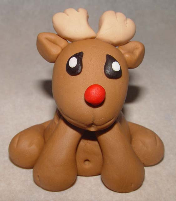 12 Fondant Reindeer Cupcake Toppers