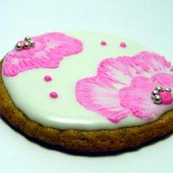 One Dozen (12) Brushed Flower Embroidered Decorated Cookies