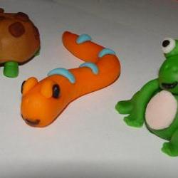 Turtle, Snake, & Frog Fondant Cake Toppers