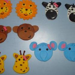 12 Jungle Theme Fondant Cupcake Toppers- FALL SALE Save up to 35% off your order (see shop front for details)