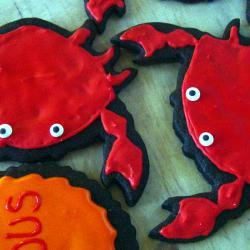 "One Dozen Decorated Crab Cookies w/ tags (""You've got crabs"", for college student ""You're bound to get crabs,may as well be cute cookie"")"